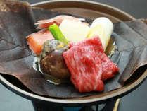 ■【夕食】牛肉の朴葉味噌焼き☆味噌の風味がたまりません♪