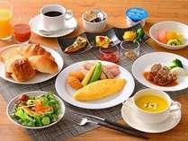 朝食【洋定食】朝食は、和食or洋食の日替わり食材でのセットメニューからお選び頂けます。