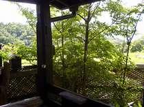 【客室露天】ヒノキの客室露天からの風景。ひっそりとした寛ぎ空間(一例)