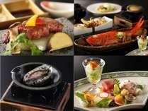 「椿」会席 相州牛ステーキ、金目鯛姿煮、鮑バター焼、お造り (2018年4月~6月)