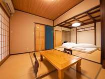 名峰由布岳の眺望が素晴らしい、開放感たっぷりの離れフラットタイプのお部屋 (8畳・6畳つづき部屋)