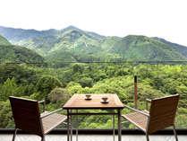 ウッドデッキテラスから鬼怒川の四季自然をお楽しみ頂けます