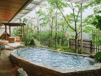 大浴場「四季の湯」露天風呂。鬼怒川の四季を楽しみながら温泉をお楽しみください。