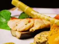 金目鯛バジルソース焼き 旬のお野菜達と共に