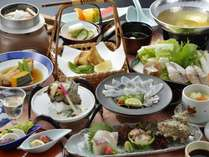 【6月限定】サザエの壺焼き♪鯛釜飯♪鯛とサザエのお造り♪とらふく刺身♪【ふく鯛サザエ会席】