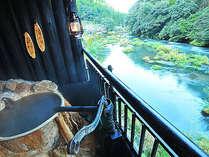 【貸切展望露天】天けい荘名物≪渓流五右衛門風呂≫です。