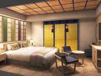 デラックスダブルルームのベッド幅は180cm/セパレートタイプのバスルームで寛ぎ空間※画像はイメージです