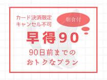 【キャンセル不可早得90】90日前までの予約がおトク!朝食バイキング付☆【カード決済限定】