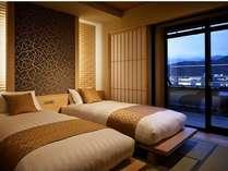 /河口湖を望む温泉露天風呂付和洋室12.5畳+TW【801】号室寝室
