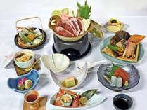 *夕食一例/「しし鍋」が楽しめる、冬の会席料理一例。