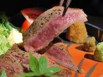 【信州牛ステーキ】わさび・おろしポン酢・柚子胡椒、お好みでさっぱりとどうぞ
