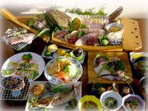 *お夕食一例(グレードアップ)/お料理イメージです。壱岐の新鮮な海の幸をふんだんに使っています♪