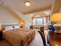 ダブル/34平米。ゆとりのクイーンサイズベッドを配置したお部屋です。
