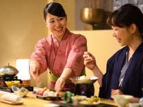 会津食材と福島の地酒が楽しめる絶品和会席。旬の食材を使い、料理長のこだわりを感じられるお食事です。