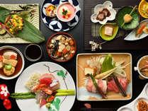 季節によって旬の食材を使った和会席一例。最高級和会席コース