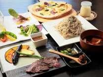薬師館の夕食季節の地元の素材を出来る限り使った創作料理