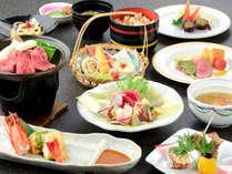 (10月限定日本一受賞米提供)常陸牛陶板焼きと地魚の煮付け付き、質・量とも充実の会席コース