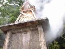 湯量豊富な伊豆熱川。源泉からは100℃の迫力の湯けむりがあがります。