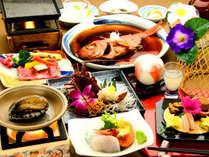 【4大グルメの特別会席】東伊豆の贅沢な美味しいものがズラリ!伊勢海老・鮑・石焼国産牛・金目鯛!