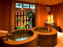【無料の貸切内風呂(なのはな)】二つの丸い湯舟が並んだ可愛らしい湯舟♪二人の湯宿イメージにピッタリ!