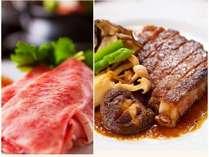よくばりグルメコースは自慢の豊後牛とステーキの両方召し上がれます。