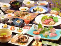 ご夕食の一例(鮎の塩焼き・鮑バター焼き・自家製ローストビーフなど)