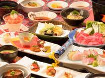 【冬華の膳】飛騨牛のすき焼き、金目鯛を含むお造り盛合せ、鮑のやわらか煮など、旬材満載のお部屋食プラン
