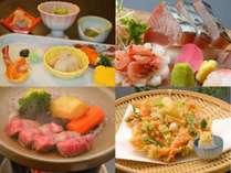 ご夕食のイメージ(前菜、お造り、飛騨牛ミニステーキ、桜えびのかき揚)