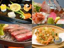 ご夕食イメージ(前菜、お造り、飛騨牛ステーキ、桜えびのかき揚)