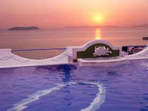 「天恵の湯」から眺める夕陽に感動