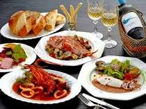 *豪華食材が彩るディナー一例♪海の幸やお肉料理など、その日の一番美味しいものをお出しいたします