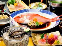 【人気No1】鮑踊焼きに金目鯛姿煮&和豚しゃぶ