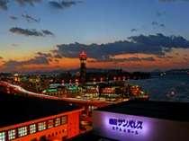 【サンパレスからの夜景】博多湾