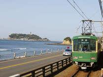 【江の島電鉄】電車から見える景色は圧巻!天気が良い日には富士山も見えます。