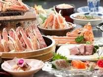 月替会席料理(11~3月)ゆで蟹、焼き蟹、蟹すき一人鍋、ステーキ、お造り、茶碗蒸しその他、全12品