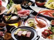 特選「味絵巻」活け鮑、海老、黒毛和牛料理3品、香住紅蟹など特選料理勢揃い。