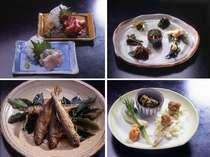 川魚や旬の素材を使った手作り料理一例