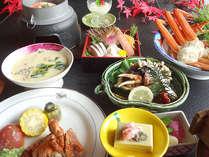 *お料理は、蟹好きに嬉しい、蟹の刺身や、蟹の天婦羅、蟹の釜めし等、まさに「蟹三昧」!