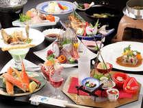 *【夕食基本Aコース一例】日本海の海の幸と庄内の旬の幸を存分に楽しめる、スタンダード懐石。
