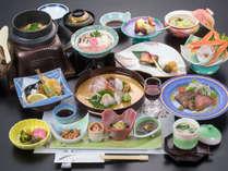 *【夕食Aコース一例】日本海の海の幸と庄内の旬の幸を存分に楽しめる、スタンダード懐石。