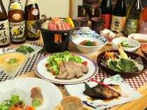 陶板焼きメインのお料理一例。野菜たっぷり!