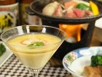 茶碗蒸しは涼やかなグラスで。