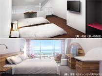最上階オーシャンメゾネット(和洋室/禁煙)1階:洋室(クイーンベッド)、2階:和室(畳+和布団)