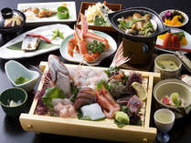 【極上海彦会席】その日採れの旬魚を使ったお造りなど。※お料理は季節・仕入により異なる(一例)