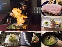 豆富と佐賀牛と日本料理十一口の料理。カウンター席での職人の技をお楽しみ頂けます。
