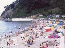 当館より徒歩一分の袖ヶ浜海水浴場。遊泳期間は7月20日〜8月14日。