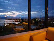 客室からの夕方景色