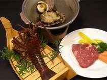三重ブランド伊勢海老、鮑伊、松阪牛!3種の贅沢食材揃い踏み!