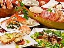 海の幸をご堪能していただける、贅沢三昧コース。やわらかでジューシーなメーンのお肉料理も大好評!