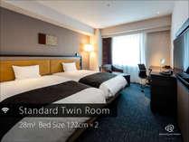 ◆スタンダードツイン◆広さ28平米にセミダブルサイズのベッドでゆったりお寛ぎください
